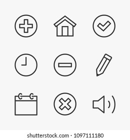 Set button Line icon stock vector illustration. Contains such Icons as button plus, minus, check mark