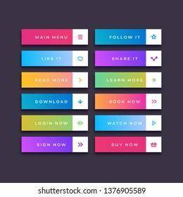Set of button trendy gradient style with user interface icon isolated on transparent background for web site, ui, mobile app. Call to action icon button. Vector 10 eps