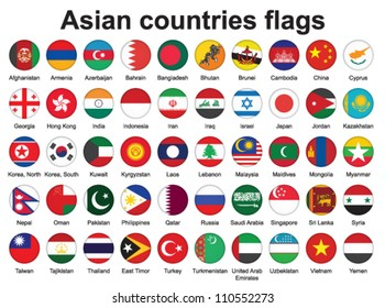 set of buttons with Asian countries flags vector illustration