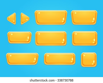 Set of buttons, bright different forms buttons for games