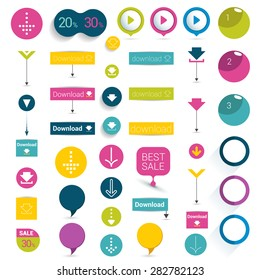 Set of buttons. Colorful shapes, arrows, pictogram. Vector illustration for infographic.