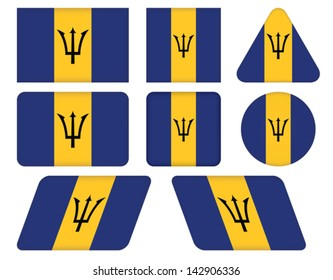 set of buttons with flag of Barbados