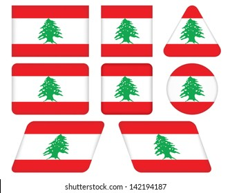 set of buttons with flag of Lebanon