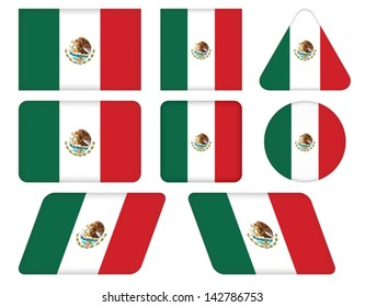 set of buttons with flag of Mexico