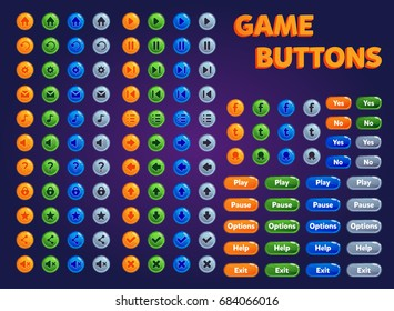 Set of buttons for game design.
