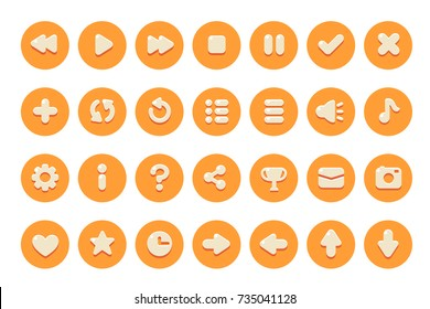 Set of buttons for games, applications and websites. Cute cartoon buttons design. Isolated vector.