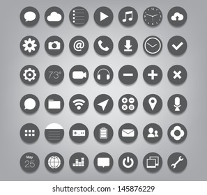 Set of buttons icons for (UI) applications or (app) for smartphones and tablets. Settings, music, media, map, photo, games, mail, clock, note, wifi, download, pictures, chat, camera, message, calendar