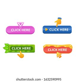 Set of buttons with the inscription click here. Multi-colored buttons of different shapes and cursor pointers.