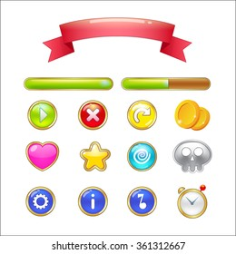 Set of buttons, progress bars, ribbon and icons for web design and game user interface isolated on white background. Vector illustration