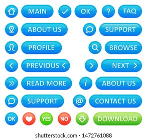 A set of buttons for a web blog. Vector icons in blue color round shapes and buttons on a white background. Web design for business site menu.