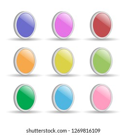set of buttons for web design on white background, vector