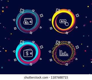 Set of Buying accessory, Buy button and Dollar wallet icons. Histogram sign. Wallet with coins, Online shopping, Cash money. Economic trend.  Circle banners with line icons. Gradient colors shapes
