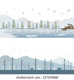 Set of Cabin on Lake and Camping on Mountain in Winter Landscape