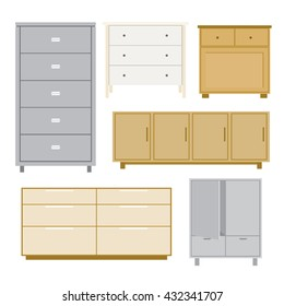 Set of cabinet wood Furniture style isolated object Vector