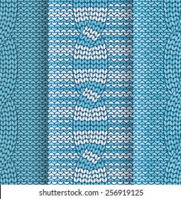 Set of cabled knitted pattern with blue and white stripes