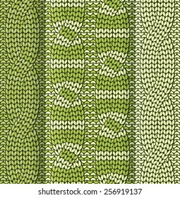Set of cabled knitted pattern with olive green stripes