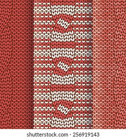 Set of cabled knitted pattern with red and white stripes