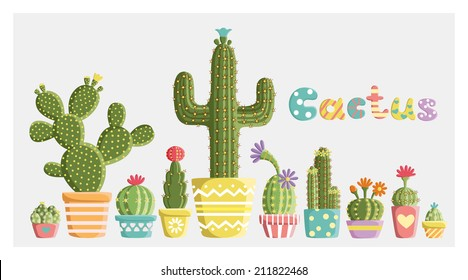 Set of cacti in pots of different shapes and colors created in a fun, cute style. Vector card