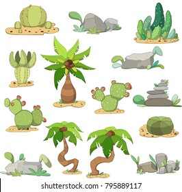 Set of cacti, stones and palms. Desert/tropic location. Vector illustration