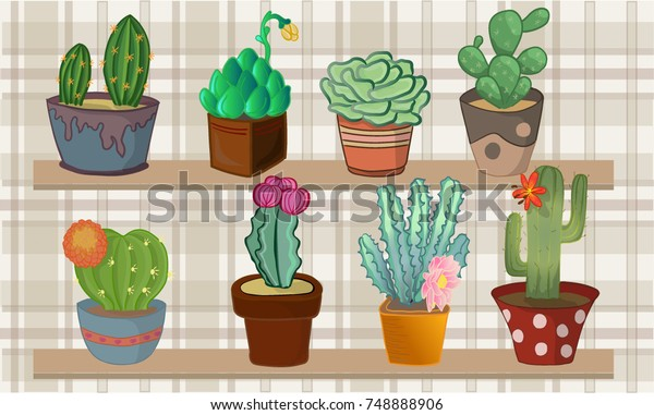 Set Cactus Background Tartan Stock Vector Royalty Free 748888906