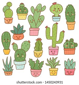 Set of cactus plant in kawaii doodle style vector