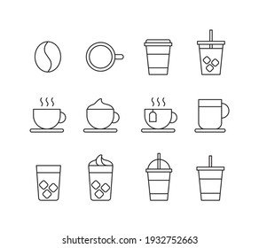 A set of cafe related icon illustrations such as coffee, iced coffee, americano, and takeout.