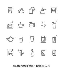 Set cafe shop icons grey on white background stock vector
