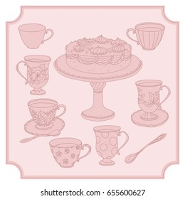 Set of Cake, tea pot and sweets and doodle with cups. Hand drawn vector illustration. Design for cafe, party, tea, invitations design element. pastel pink colors