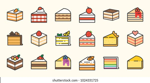 Set of cake, tiramisu, cheese cake, red velvet, orange, carrot, chocolate, mocha, crepe and rainbow cake, layer cake, filled outline icon