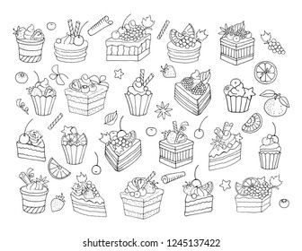 Set of cakes, fruit and berries. Vector illustration, black and white sketch.