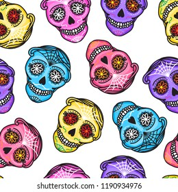 Set Calavera sign Dia de los muertos. Seamless pattern. Mexican Day of the dead. Vector hand darwing illustration woman and man isolated on white background
