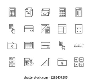 Set of Calculation Vector Line Icons. Contains such Icons as Calculator Icon, Pencil, Click, Money Bag, Percent symbol, Square and Ruler. Editable Stroke. 32x32 Pixel Perfect.