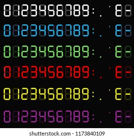 set of calculator digital numbers. electronic figures. LCD digital number. clock digital. calculator liquid crystal digital numbers on background.