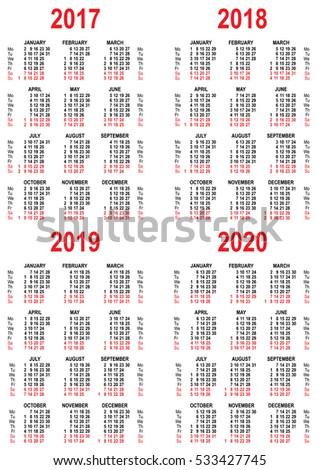 Calendario 2020 Vettoriale Gratis.Immagine Vettoriale A Tema Set Calendar 2017 2018 2019 2020