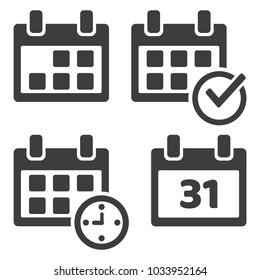 Set of calendar icons. Vector illustration