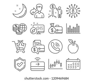 Set of Calendar, Income money and Salary icons. Contactless payment, Cross sell and Bar diagram signs. World money, Candlestick graph and Accounting report calendar symbols. Vector