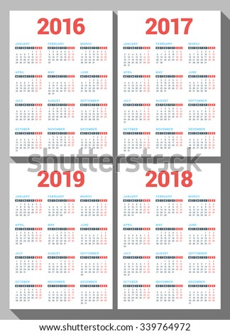 set of calendars for 2016 2017 2018 2019 years on white background
