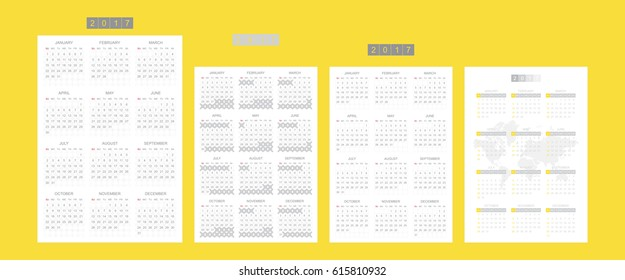 Set Calendars for 2017 Year. Week starts monday. Vector template for business graphics.