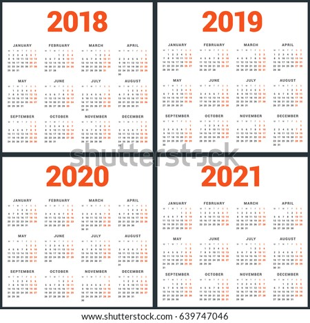 Set Calendars 2018 2019 2020 2021 Stock Vector Royalty Free