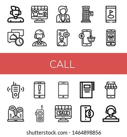Set of call icons such as Support, Message, Online shop, Customer service, Receptionist, Video chat, Phone booth, Mobile, Smartphone, Phone, Walkie talkie, Online support , call