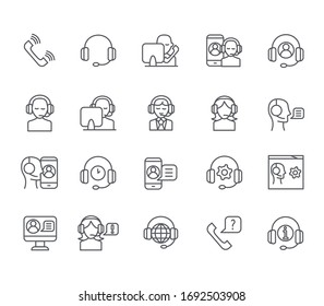 Set of call  Related Vector Line Icons. Includes such Icons as operator, support, call center, cold calling, phone and more.