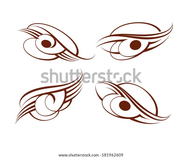 Set calligraphic abstract tattoo. Brown  .Vector illustration.