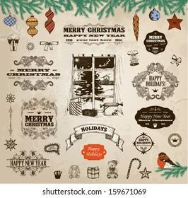 Set of calligraphic christmas decoration