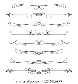 Set of calligraphic design elements- dividers,Thin line decoration objects,isolated on white background,vector illustration.