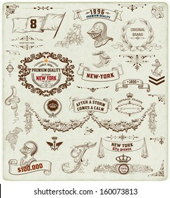 Set of calligraphic design elements: Heraldry, labels, baroque frames and floral ornaments collection