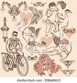 Set of calligraphic design elements on St Valentine's day