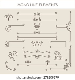 Set of calligraphic elements & borders in line style.  Vector illustration