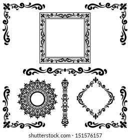 Set Of Calligraphic Elements For Design. Corners, Borders & Frames.