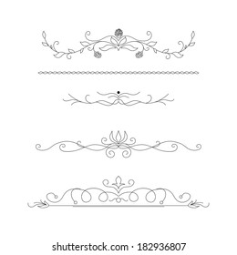 Set of calligraphic floral design elements and page decoration
