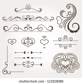 Set of calligraphic floral valentine's day design elements and page decoration. Vector illustration